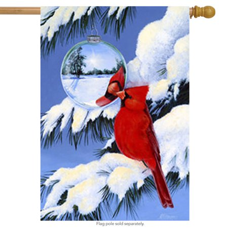 Cardinal's Reflection Winter House Flag Large Yard Seasonal Banner 28