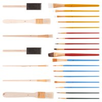 U.S. Art Supply 25 Piece All-Purpose Assorted Artist Paint Brush Set - Use for Acrylic, Oil, Watercolor and Other Paint