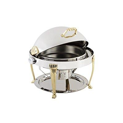Bon Chef 12009 Elite Series Stainless Steel Round Chafing Dish with Aurora Legs, 2 gal Capacity by Bon Chef