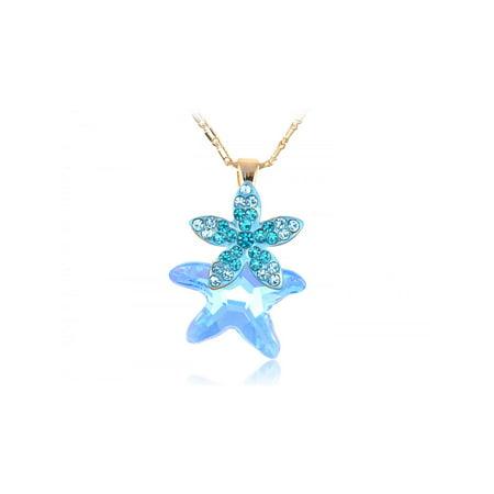 Aquamarine Light Sapphire Shedding Starfish Crystal Element Necklace