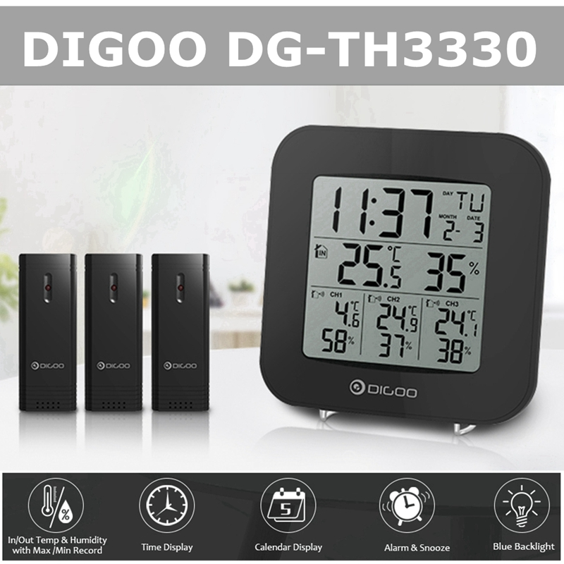 Digoo Digital Blue Back-light 3 Channels Sensor Thermometer Hygrometer Alarm Clock with Snooze,Indoor Outdoor Temperature Humidity Time Calendar Display Monitor