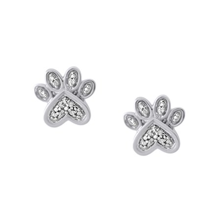 c9877eeaf Jewel Zone US - White Natural Diamond Paw Print Stud Earrings In 14k White  Gold Over Sterling Silver - Walmart.com