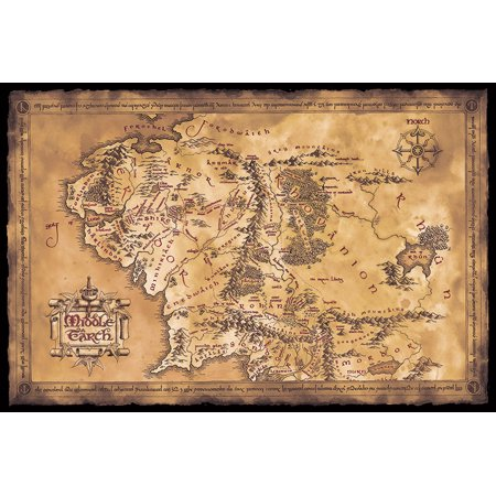 The Hobbit / The Lord Of The Rings - Map Of Middle Earth - Movie Poster (Limited Dark / Sepia Edition) (Size: 36