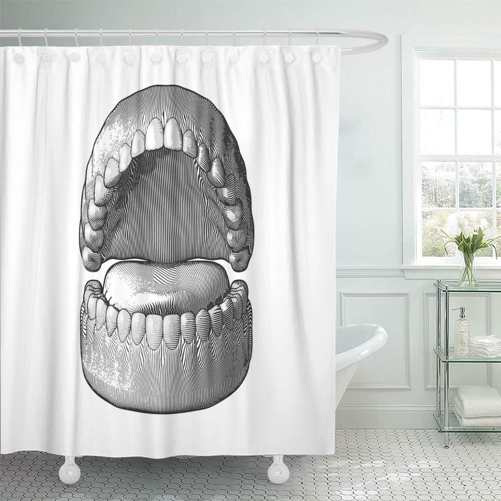 CYNLON Mouth Black Engraved Teeth Gum Engraving Monochrome