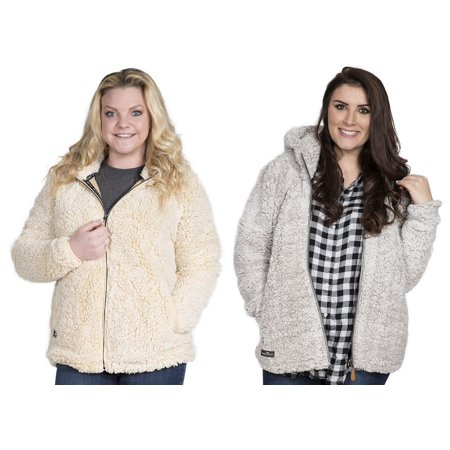 Simply Southern Womens Full Zip Hooded Sherpa - Cream or Pearl