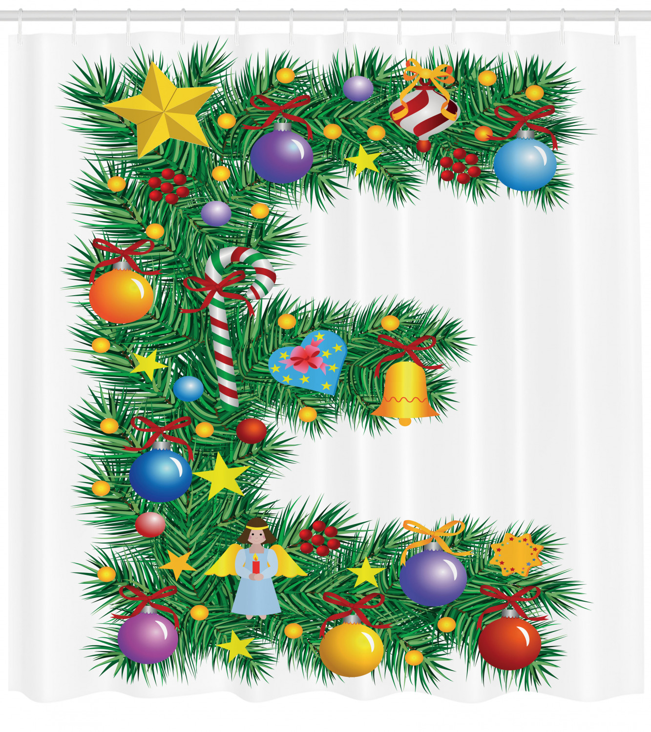Letter E Shower Curtain Seasonal Holiday Candy Cane Big Star Praying Angel Capitalized Letter E Alphabet Fabric Bathroom Set With Hooks 69w X 84l