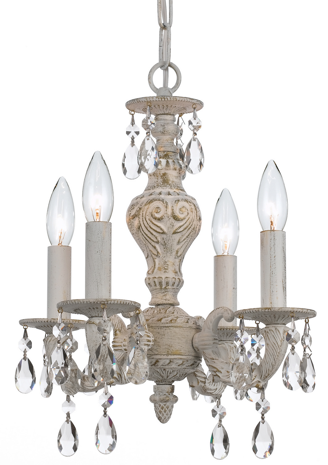 Crystorama 5024-AW-CL-S Four Light Mini Chandelier by Crystorama
