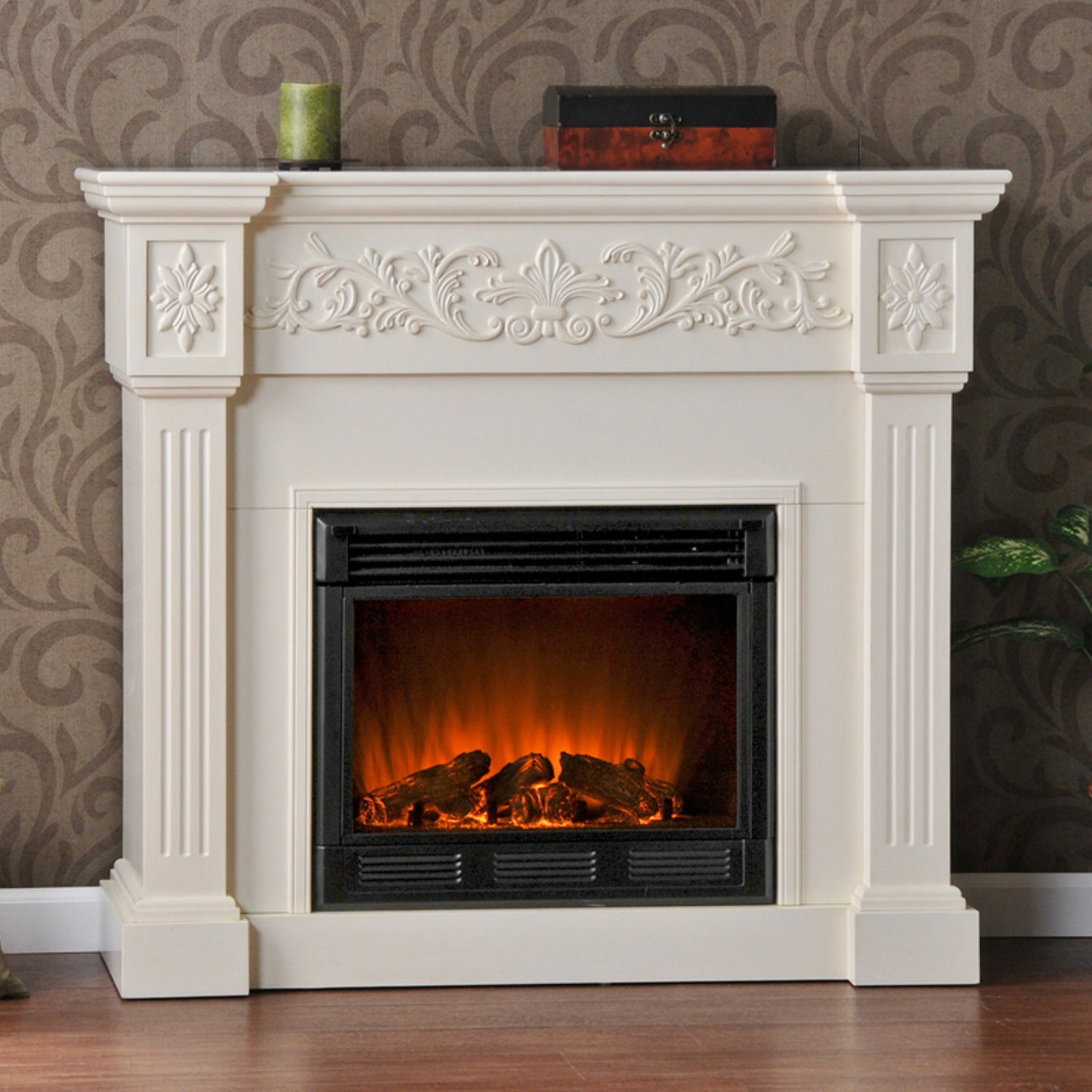 Southern Enterprises Calvert Ivory Electric Fireplace