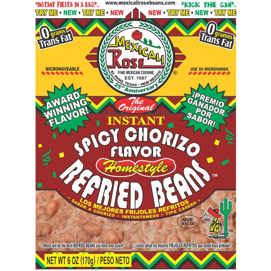 Mexcali Rose Instant Spicy Chorizo Flavor Homestyle Refried Beans, 6 oz by