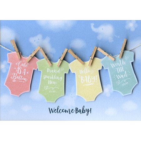 Hanging Tip (Paper House Productions Baby Clothes Hanging on Clothesline Tip On 3D Handcrafted New Baby Congratulations Card)