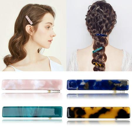 4-PCS Hair Clip Simple Decorative Natural Texture Hair Barrette Hair Pin Hairpins Alligator Clips Hair Accessories for Women Girls Teens Child Kids (Goody Girls Hair Clips)