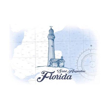 Saint Augustine, Florida - Lighthouse - Blue - Coastal Icon Print Wall Art By Lantern Press - Halloween Saint Augustine