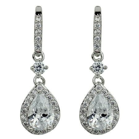 Cubic Zirconia Teardrop Earrings, Silver