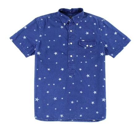 Ralph Lauren NEW Blue Mens Size XL Denim Henley Star Print Shirt