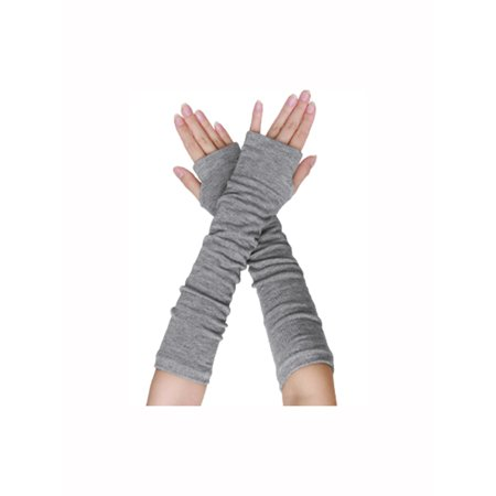 Knitted Wrist Gloves (Unique-Bargains Women's Elbow Length Stretchy Thumbhole Arm Warmer Fingerless Gloves)