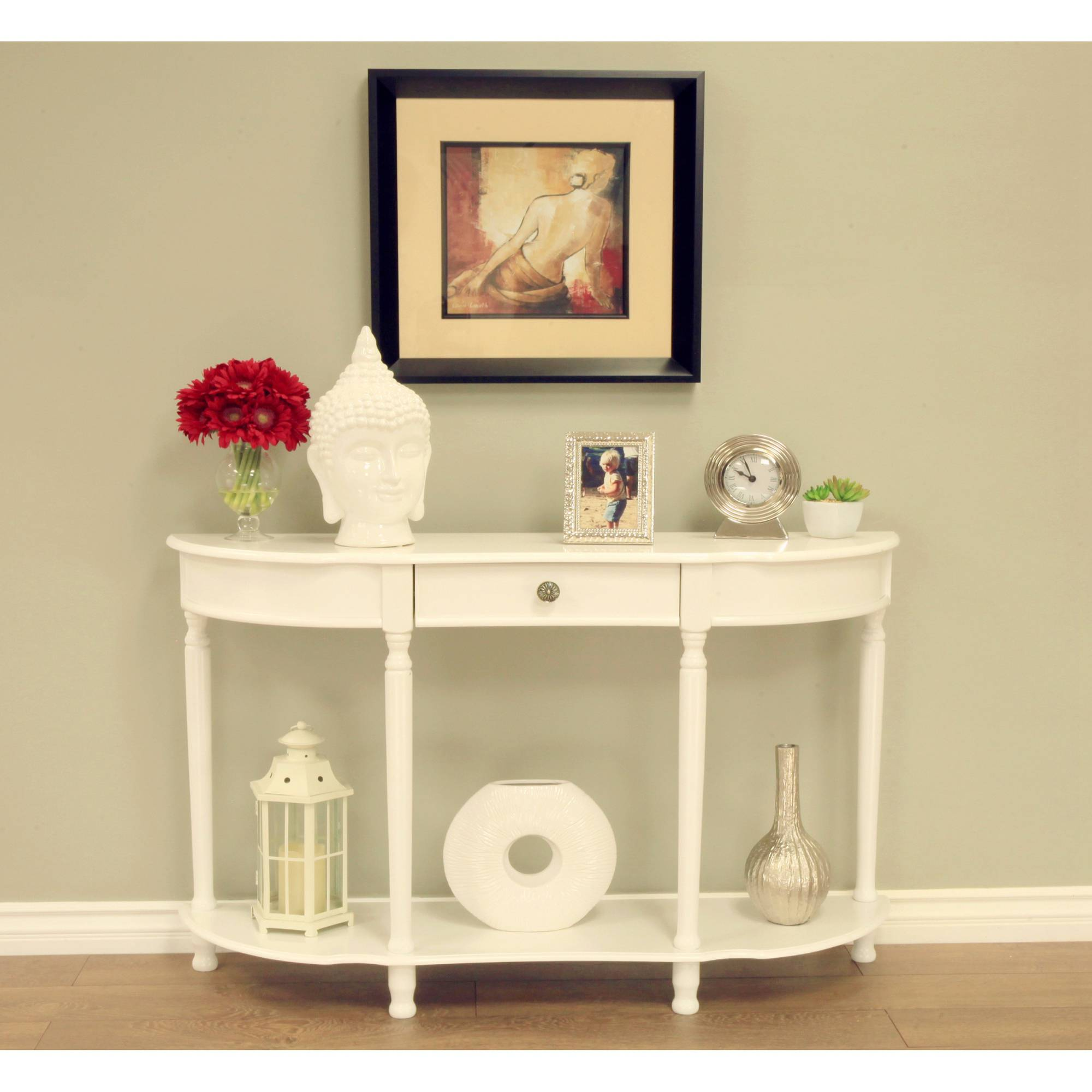 Home Craft Console Sofa Table with Drawer, White by Maga Home