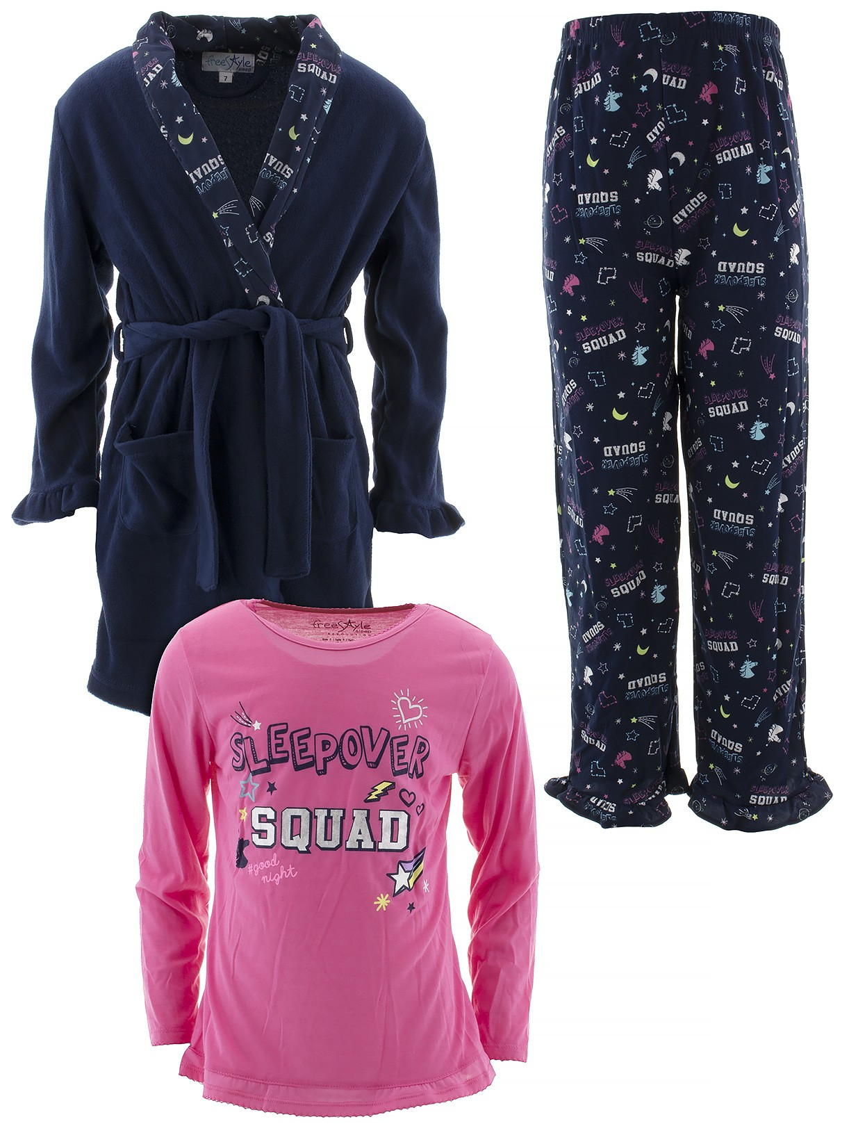 Freestyle Revolution Girl's 3 Piece Pajama Sleep Set with Plush Robe (Little Girl & Big Girl)