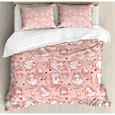 Cute Hippie Girl (Ambesonne Kids Cute Baby Hippo Pattern Lovely Wild Animal Playroom Concept Duvet Cover)
