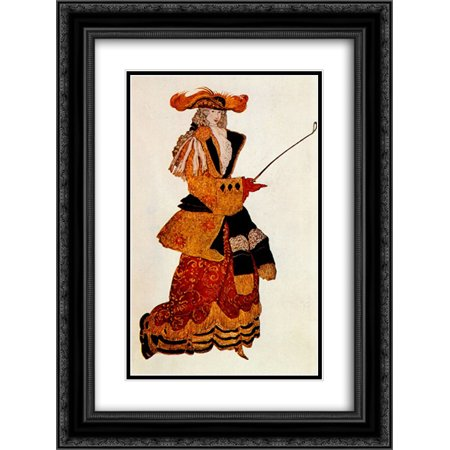 Leon Bakst 2x Matted 18x24 Black Ornate Framed Art Print 'Costume design for the Marchioness Hunting, from Sleeping Beauty' - Hunting Costume