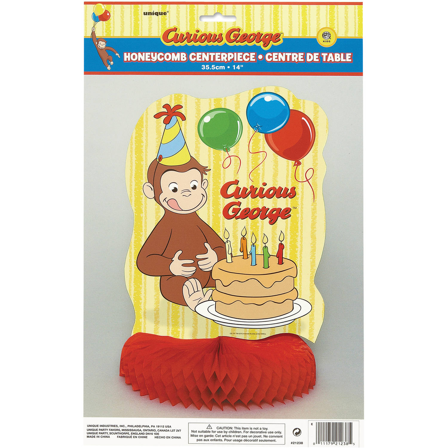 "14"" Honeycomb Curious George Centerpiece Decoration"