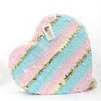 Heart Shaped Gender Reveal Pull-String Pinata, Pink, Blue, & Gold, 20in x 20in