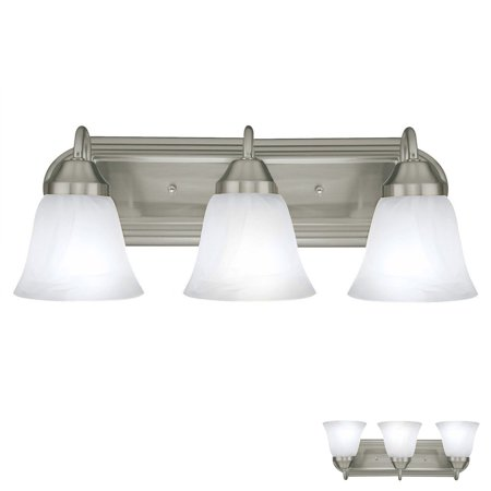 Forecast Bathroom Bath Light - Three Globe Bathroom Vanity Light Bar Bath Fixture, Brushed Nickel with Alabaster Glass