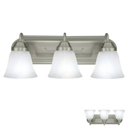 - Three Globe Bathroom Vanity Light Bar Bath Fixture, Brushed Nickel with Alabaster Glass