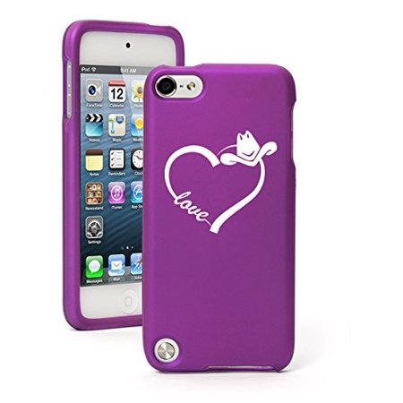 Purple Love Rubber (Apple iPod Touch 5 5th Generation Rubber Hard Case Cover Love Heart Country Cowgirl (Purple))