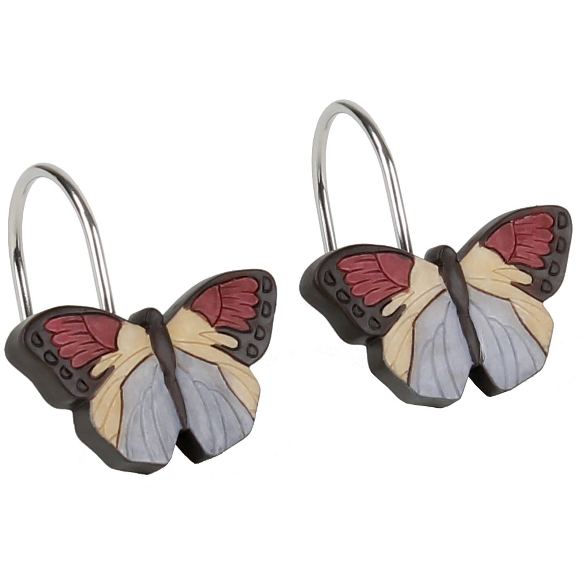 Mainstays™ Solace Butterfly Shower Curtain Hooks, Set of 12 Hooks