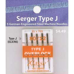 Klasse' Serger Needles Type J (ELx705) Size 80/12