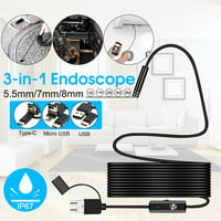 Bakeey 3-in-1 7mm 6 Leds Type C Micro USB Endoscope Inspection Camera Soft Cable for Android PC