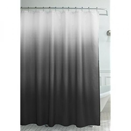 Creative Home Ideas Ombre Waffle Weave Shower Curtain With 12 Color Coordinated Metal Roller Rings In Dark Grey