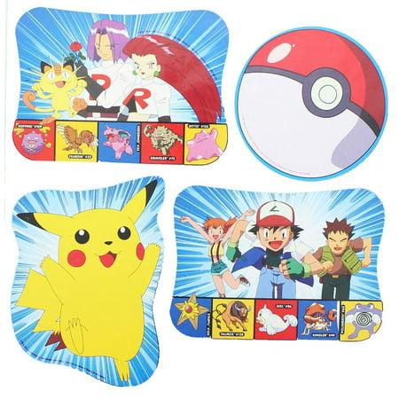 4 Pokemon Pikachu Print Decorations Party - Pokemon Party Supplies