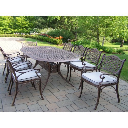 Oakland Living Mississippi 82 x 42 in. Oval Patio Dining Set - Seats 8