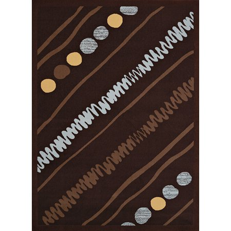 - United Weavers Cafe Area Rugs - 950-10955 Contemporary Dark Brown Geometric Squiggles Stripe Dots Rug