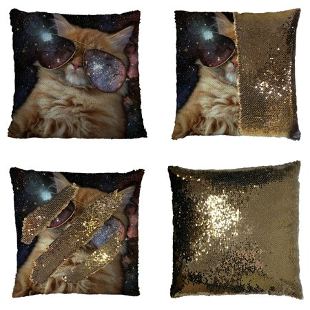 - GCKG Star Galaxy Outer Space Cool Sunglass Cat Reversible Mermaid Sequin Pillow Case Home Decor Cushion Cover 16x16 inches