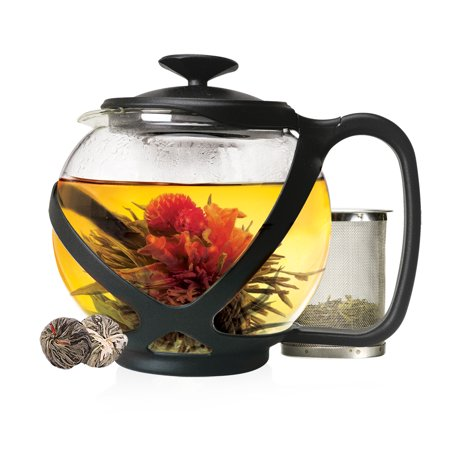 Black Glass Tea Pots - Primula Tempo Glass 40 Ounce Temperature Safe Black Teapot