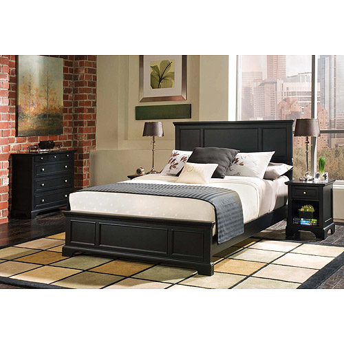 Bedford 3-Piece Bedroom Set Complete Queen Bed, Nightstand and Chest, Ebony by Home Styles
