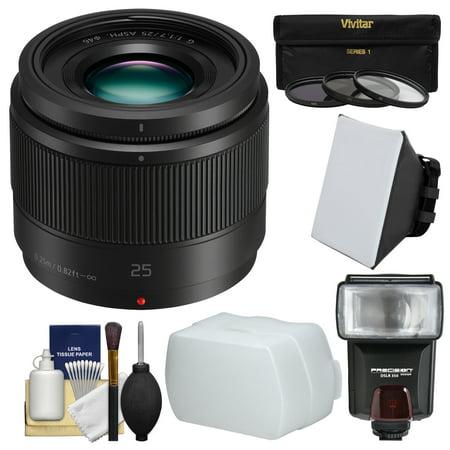 Panasonic Lumix G X 25mm f/1.7 ASPH Lens with Flash + Soft Box + Diffuser + 3 Filters Kit for G6, G7, GF7, GH3, GH4, GM1, GM5, GX7, GX8