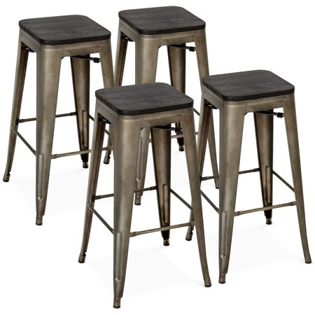 Best Choice Products Set of 4 30in Distressed Industrial Stackable Backless Steel Bar Stools w/ Wood Seats, Rubber Cap Feet - (Steel Square Bar)