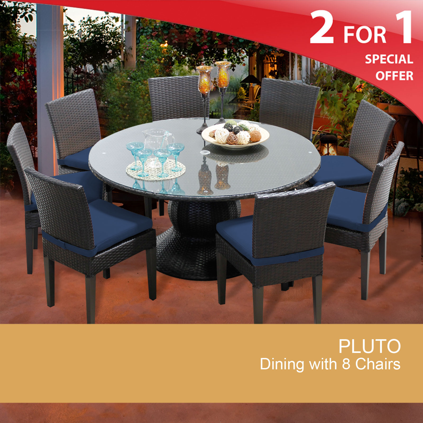 Pluto 60 Inch Outdoor Patio Dining Table With 8 Chairs