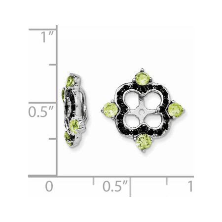 925 Sterling Silver Rhodium Peridot & Black Sapphire Jacket (11x11mm) Earrings - image 1 of 2