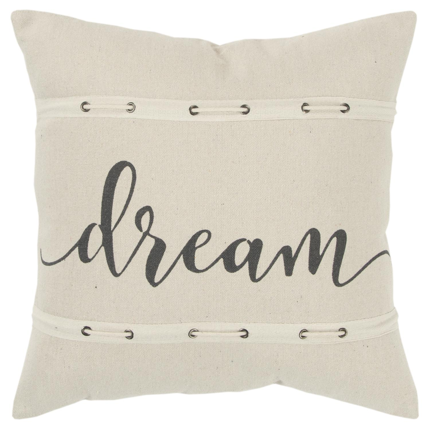 """Rizzy Home """"Dream"""" Poly Filled Decorative Throw Pillow, 20"""" x 20"""", Natural"""