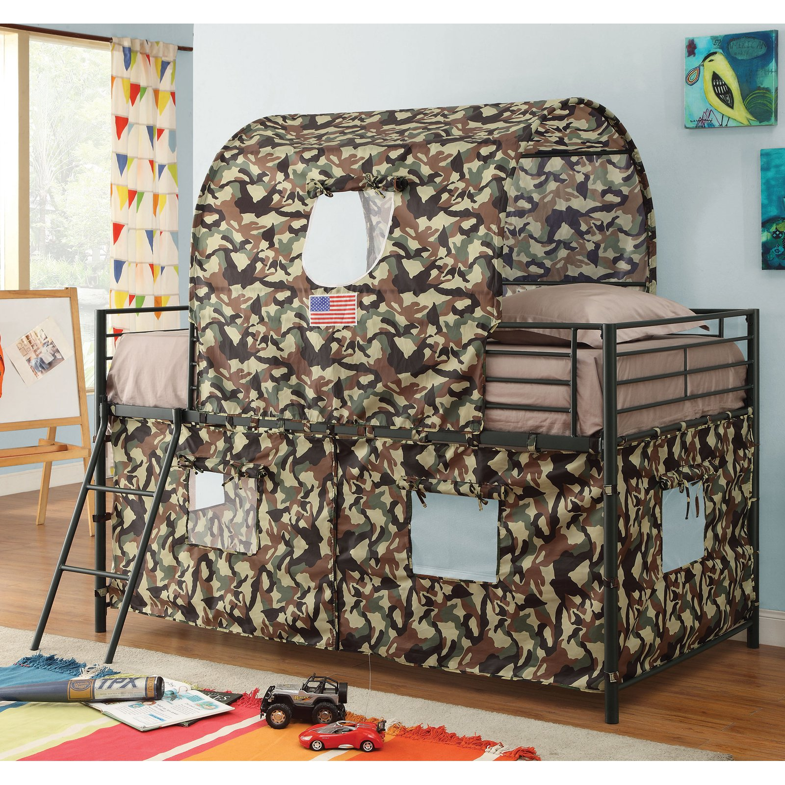 Coaster Camouflage Tent Twin Metal Loft Bed, Black