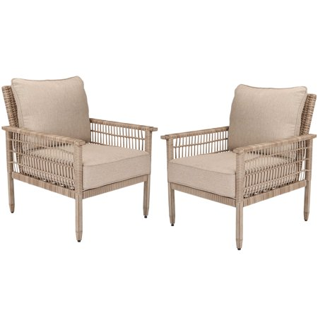 Better Homes & Gardens Meadow Lake 2-Piece Patio Wicker Lounge Chair Set with Beige