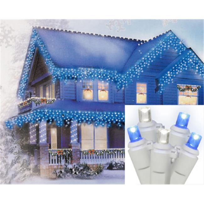 NorthLight Set Of 70 Blue & Pure White LED Wide Angle Icicle Christmas Lights - White Wire