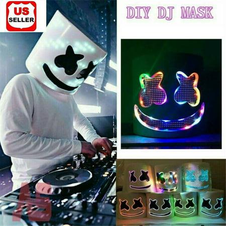 Good Halloween Music For A Party (DJ-MarshMello LED Mask Full Head Helmet Halloween Easter Cosplay Bar Music)