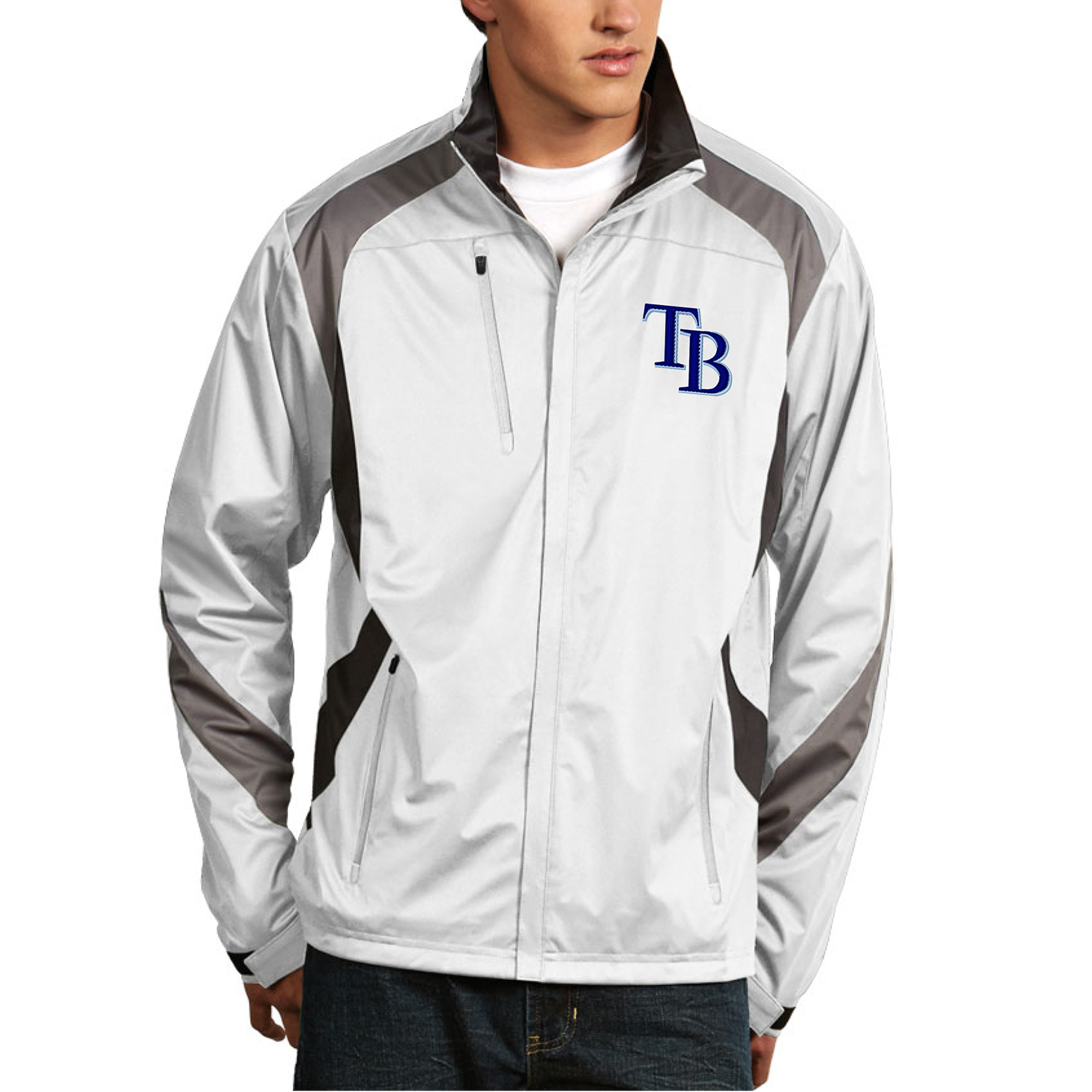 Men's Antigua White Tampa Bay Rays Tempest Full-Zip Jacket