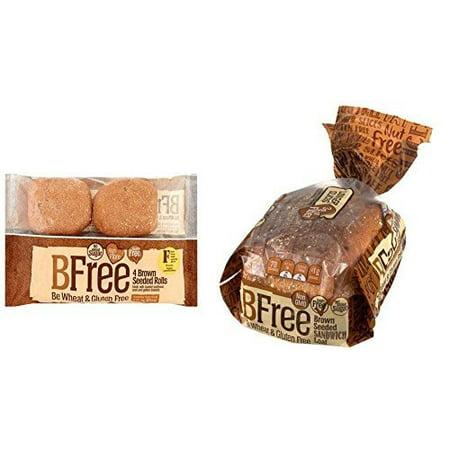 BFree Gluten Free Variety Pack Seeded Brown Rolls and Seeded Brown Bread, 2 Packs Each, Vegan, Egg Free, Soy Free, Nut Free, Dairy