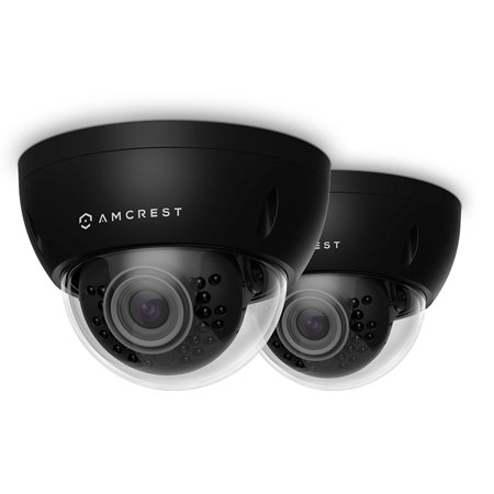 2-Pack Amcrest ProHD Outdoor 3 Megapixel POE Vandal Dome IP Security Camera - IP67 Weatherproof, IK10 Vandal-Proof, 3MP (2048 TVL), IP3M-956E (Black)